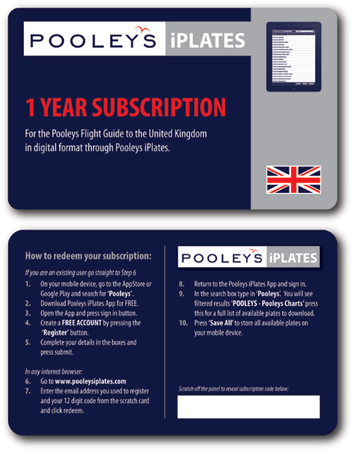 Pooleys UK  iPlates 1 Year Subscription Card