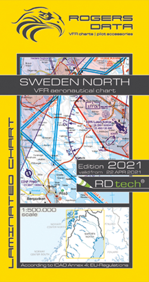 2021 Sweden North VFR Chart 1:500 000 - Rogersdata