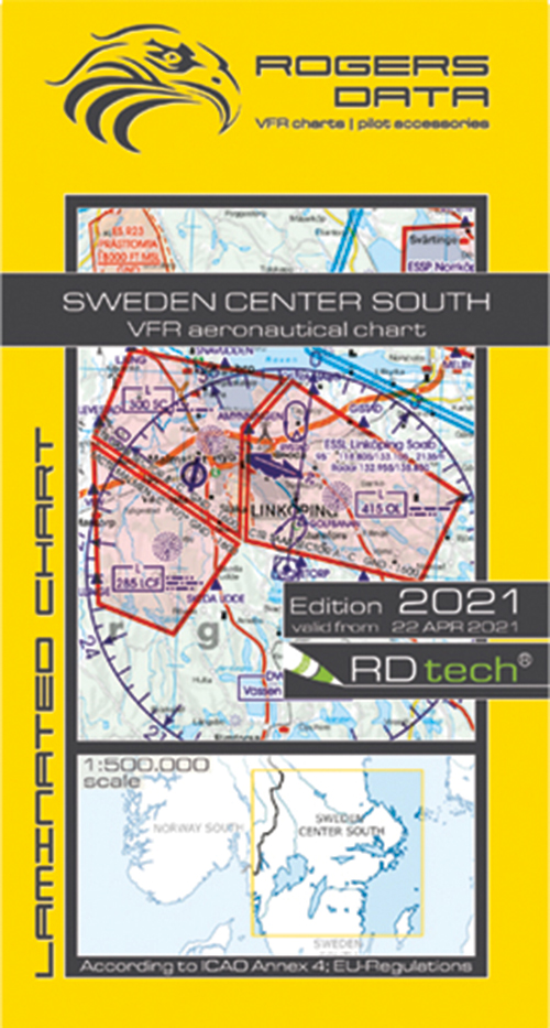 2021 Sweden Center North VFR Chart 1:500 000 - Rogersdata