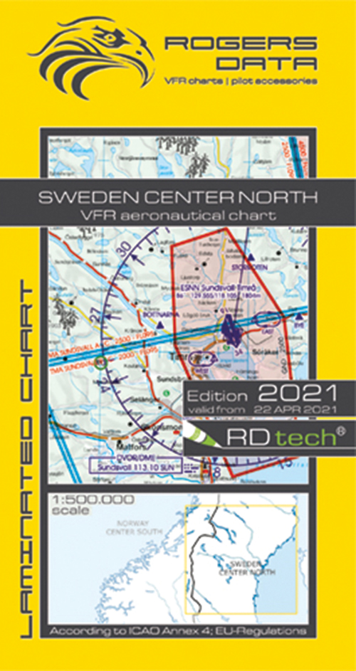 2021 Sweden Center South VFR Chart 1:500 000 - Rogersdata