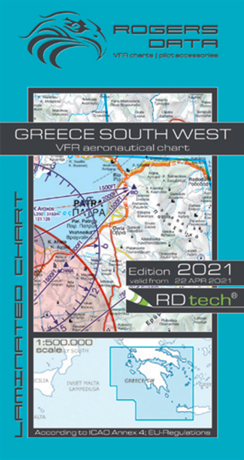 2021 Greece South West VFR Chart 1:500 000 - Rogersdata