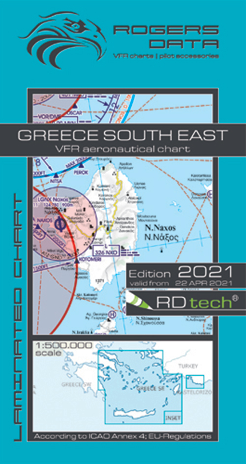 2021 Greece South East VFR Chart 1:500 000 - Rogersdata