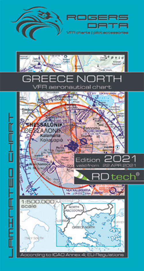 2021 Greece North VFR Chart 1:500 000 - Rogersdata