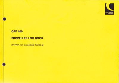 CAP 400 - Propeller Log Book (for aircraft not exceeding 2730 kg MTWA)