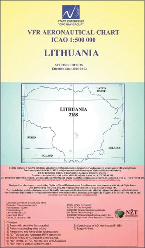 Lithuania VFR ICAO 1:500 000 Chart  - European Charts and Guides