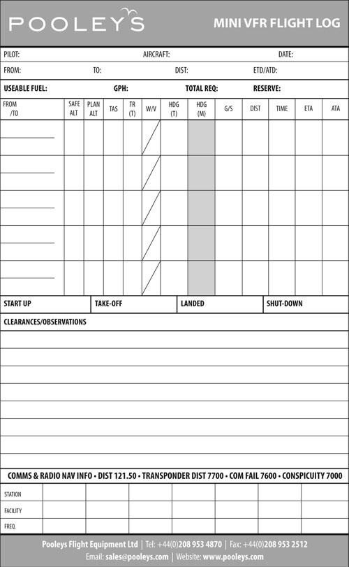 Mini VFR Flight Log Pad