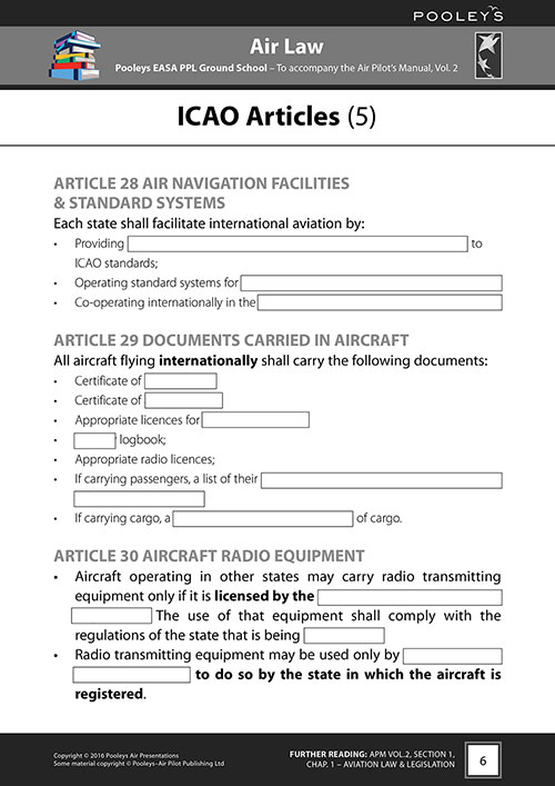 Pooleys Air Presentations – Air Law Student Pilot's Work Book (b/w with spaces for answers)Image Id:48056