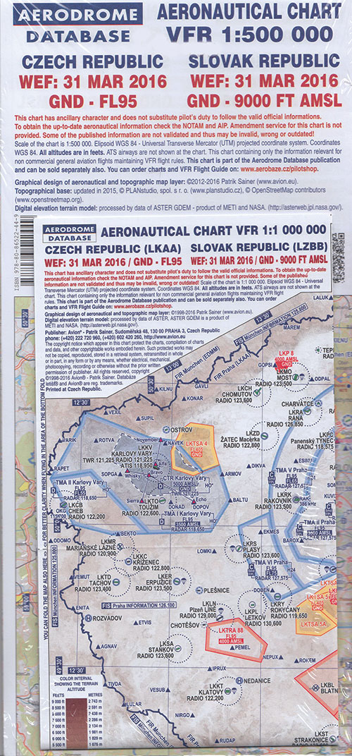 Czech Republic VFR 1:500 000 Aeronautical Chart 2016 - Aerodrome Database