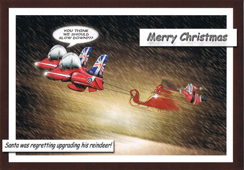 Merry Christmas Novelty Red Arrows Card - Xmas Gifts