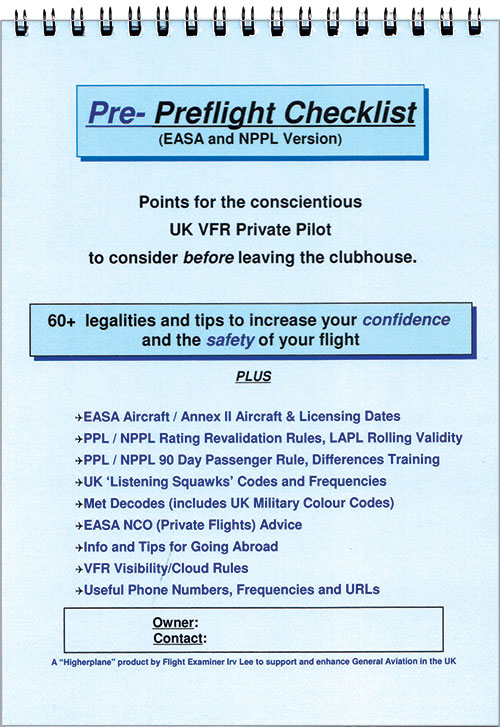 EASA Version, Pre-Preflight Checklist - Irv Lee - Higherplane