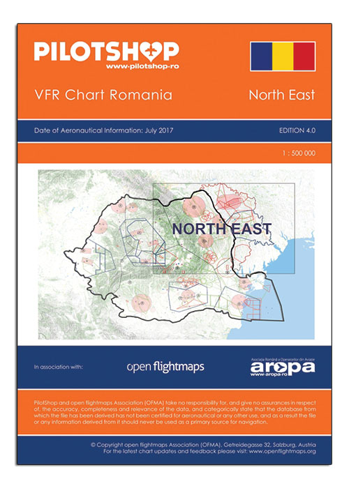 Romania VFR 1:500 000 Chart – North East - Pilot Shop.Romania