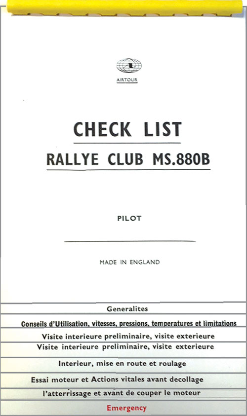Rallye Club in French Checklist