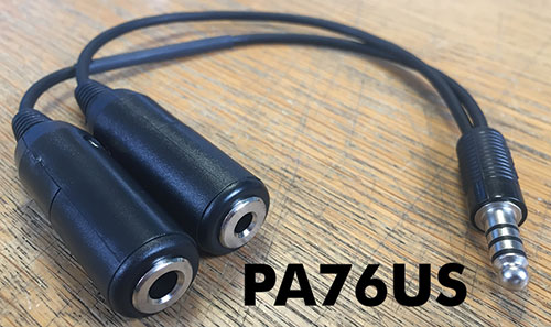 PA76US – Twin Socket to US Nato Plug, Headset Adaptor