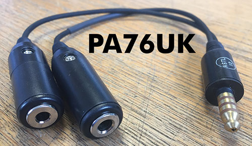 PA76UK – Twin Socket to UK Nato Plug, Headset Adaptor