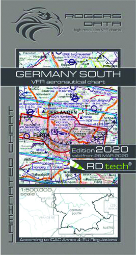 2020 Germany South VFR Chart 1:500 000 - Rogersdata
