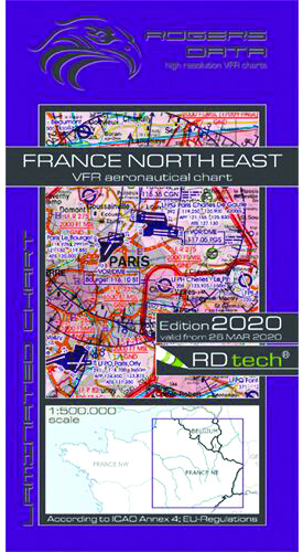 2020/2021 France North East VFR Chart 1:500 000 - Rogersdata